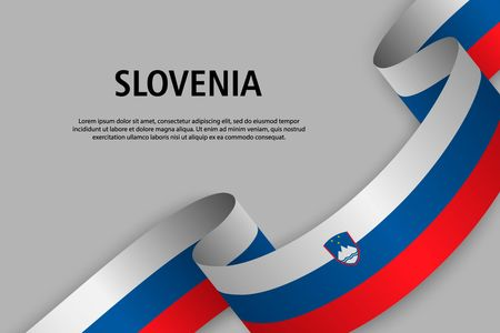 Waving ribbon with Flag of Slovenia, Template for Independence day banner. vector illustration