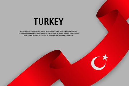Waving ribbon with Flag of Turkey, Template for Independence day banner. vector illustration