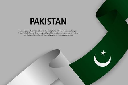 Waving ribbon with Flag of Pakistan, Template for Independence day banner. vector illustration