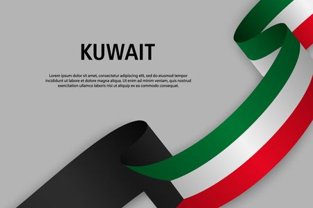 Waving ribbon with Flag of Kuwait, Template for Independence day banner. vector illustration Иллюстрация