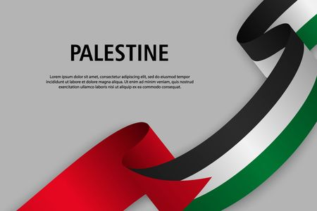Waving ribbon with Flag of Palestine, Template for Independence day banner. vector illustration Иллюстрация