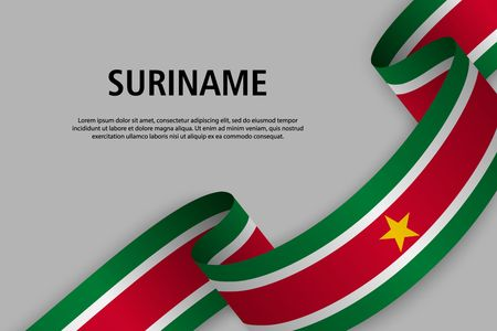 Waving ribbon with Flag of Suriname, Template for Independence day banner. vector illustration