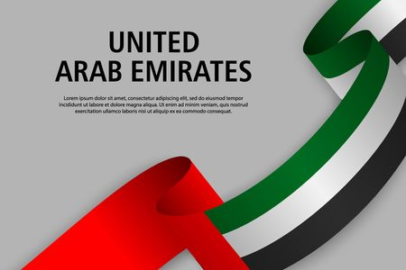 Waving ribbon with Flag of United Arab Emirates, Template for Independence day banner. vector illustration Ilustração