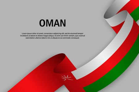 Waving ribbon with Flag of Oman, Template for Independence day banner. vector illustration