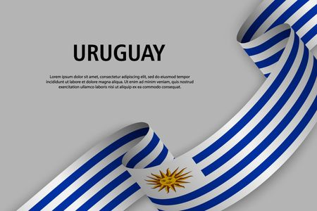 Waving ribbon with Flag of Uruguay, Template for Independence day banner. vector illustration Иллюстрация