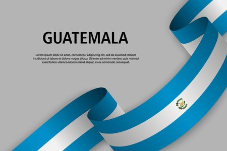 Waving ribbon with Flag of Guatemala, Template for Independence day banner. vector illustration Ilustração