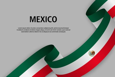 Waving ribbon with Flag of Mexico, Template for Independence day banner. vector illustration