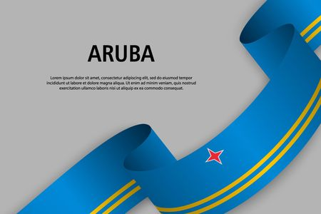 Waving ribbon with Flag of Aruba, Template for Independence day banner. vector illustration