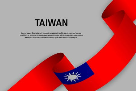 Waving ribbon with Flag of Taiwan, Template for Independence day banner. vector illustration Ilustração