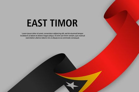 Waving ribbon with Flag of East Timor, Template for Independence day banner. vector illustration Иллюстрация