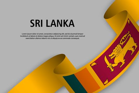 Waving ribbon with Flag of Sri Lanka, Template for Independence day banner. vector illustration Иллюстрация