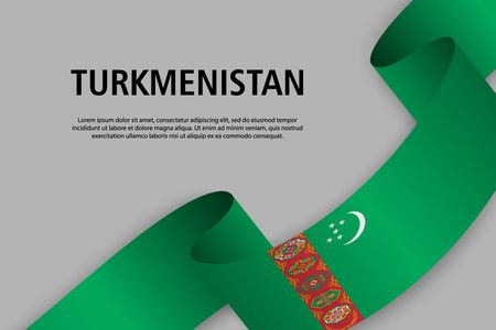 Waving ribbon with Flag of Turkmenistan, Template for Independence day banner. vector illustration Иллюстрация