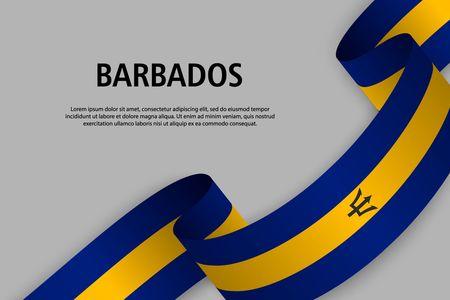 Agitant le ruban avec le drapeau de la Barbade, modèle pour la bannière du jour de l'indépendance. illustration vectorielle Vecteurs