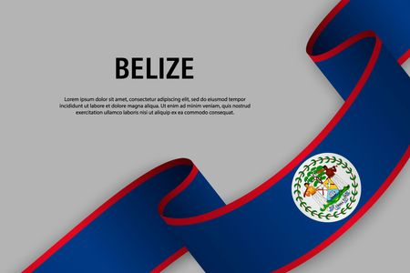 Waving ribbon with Flag of Belize, Template for Independence day banner. vector illustration