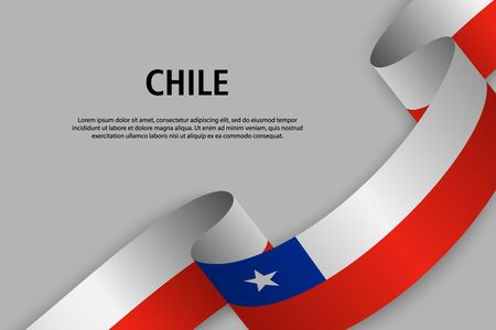 Waving ribbon with Flag of Chile, Template for Independence day banner. vector illustration