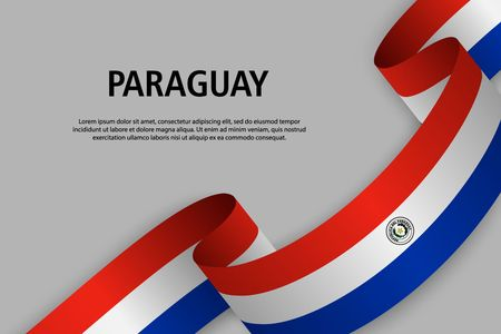 Waving ribbon with Flag of Paraguay, Template for Independence day banner. vector illustration