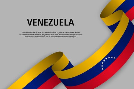 Waving ribbon with Flag of Venezuela, Template for Independence day banner. vector illustration