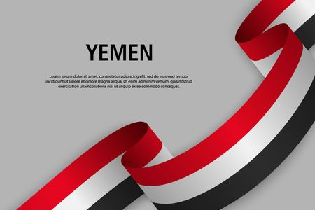 Waving ribbon with Flag of Yemen, Template for Independence day banner. vector illustration Иллюстрация