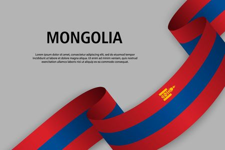Waving ribbon with Flag of Mongolia, Template for Independence day banner. vector illustration