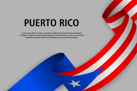 Waving ribbon with Flag of Puerto Rico, Template for Independence day banner. vector illustration