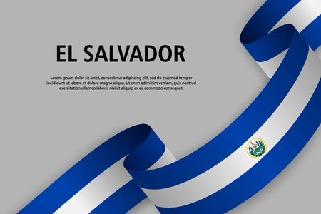Waving ribbon with Flag of El Salvador, Template for Independence day banner. vector illustration Иллюстрация