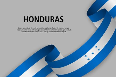 Waving ribbon with Flag of Honduras, Template for Independence day banner. vector illustration