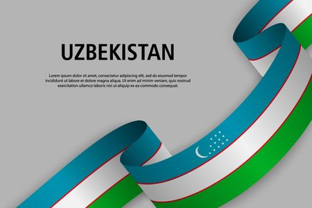 Waving ribbon with Flag of Uzbekistan, Template for Independence day banner. vector illustration