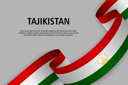 Waving ribbon with Flag of Tajikistan, Template for Independence day banner. vector illustration Ilustração