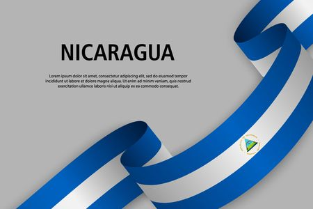 Waving ribbon with Flag of Nicaragua, Template for Independence day banner. vector illustration