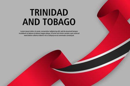 Waving ribbon with Flag of Trinidad and Tobago, Template for Independence day banner. vector illustration