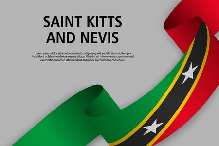 Waving ribbon with Flag of Saint Kitts and Nevis, Template for Independence day banner. vector illustration