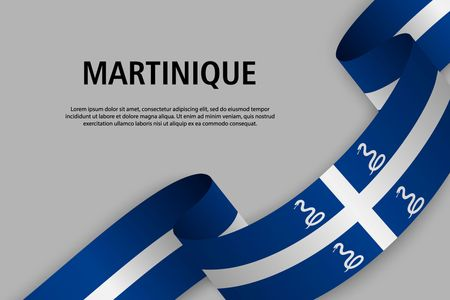 Waving ribbon with Flag of Martinique, Template for Independence day banner. vector illustration