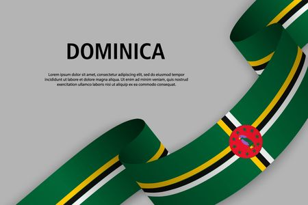 Waving ribbon with Flag of Dominica, Template for Independence day banner. vector illustration