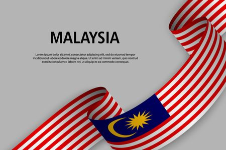 Waving ribbon with Flag of Malaysia, Template for Independence day banner. vector illustration
