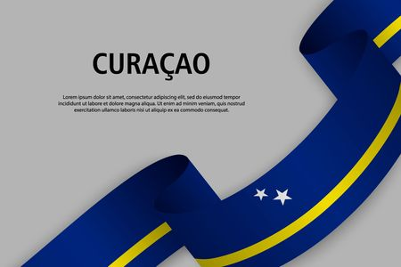 Waving ribbon with Flag of Curacao, Template for Independence day banner. vector illustration