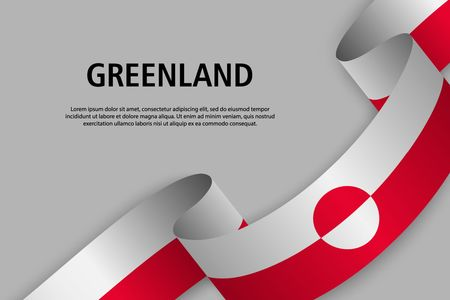 Waving ribbon with Flag of Greenland, Template for Independence day banner. vector illustration