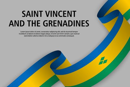 Waving ribbon with Flag of Saint Vincent and the Grenadines, Template for Independence day banner. vector illustration
