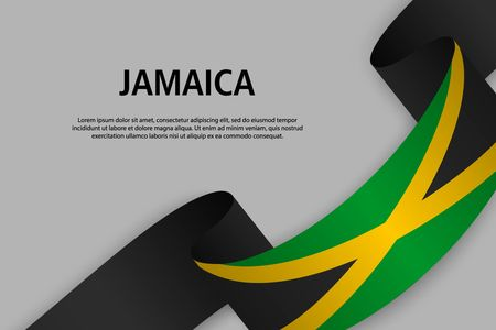 Waving ribbon with Flag of Jamaica, Template for Independence day banner. vector illustration