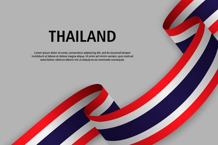 Waving ribbon with Flag of Thailand, Template for Independence day banner. vector illustration