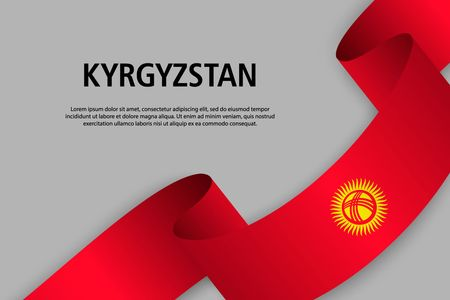 Waving ribbon with Flag of Kyrgyzstan, Template for Independence day banner. vector illustration