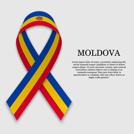 Flag of Moldova on stripe ribbon isolated on white background. Template for independence day