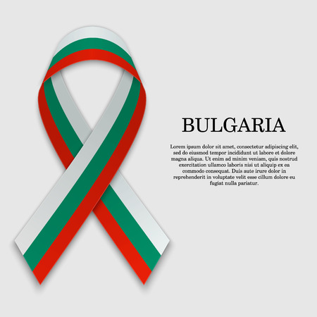 Flag of Bulgaria on stripe ribbon isolated on white background. Template for independence day
