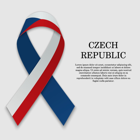 Flag of Czech Republic on stripe ribbon isolated on white background. Template for independence day