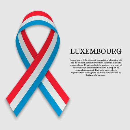 Flag of Luxembourg on stripe ribbon isolated on white background. Template for independence day