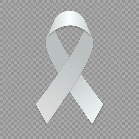 Blank white ribbon. template for awareness symbol. Vector illustration.