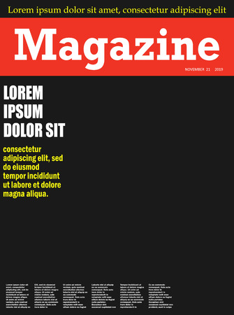 Realistic magazine front page template. vector illustration