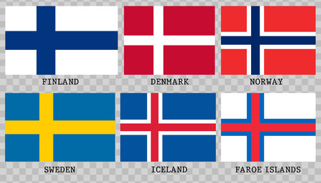 Simple flags of Scandinavia.Nordic countries. Correct size, proportion colors