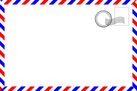 Realistic vintage postcard with red and blue borderline Vector Illustration