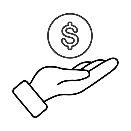 money in hand vector icon on white background