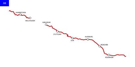 German highway route A8. Bundesautobahn 8. Road map of Germany Illusztráció